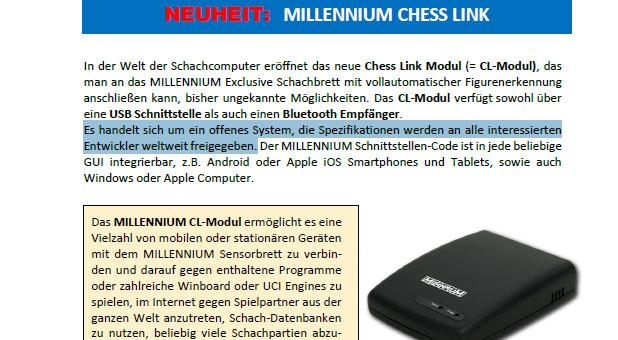 Millennium Chess Link Schnittstelle