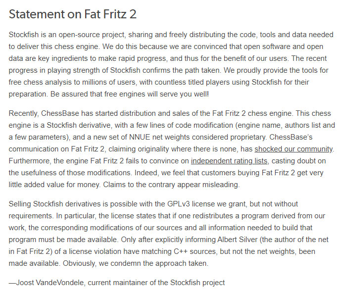 Stockfish Statement Fat Fritz 2